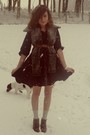 Black-h-m-dress-gray-vintage-scarf-orange-vintage-from-turkey-belt-silver-