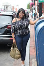Navy-american-eagle-jeans-h-m-shirt-olive-green-botkier-purse-silver-steve