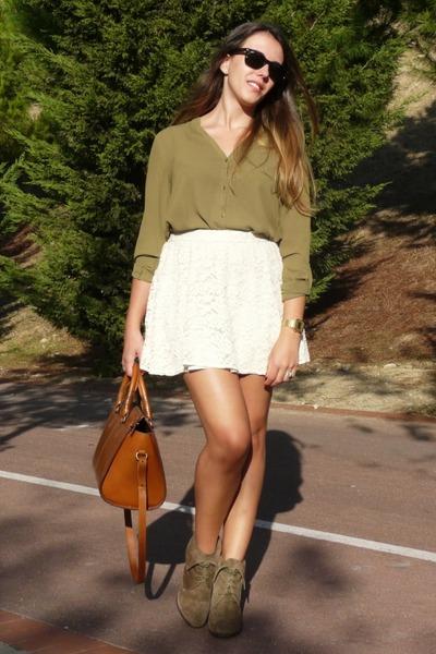cream lace suiteblanco skirt - brown suede Zara boots - olive green Mango shirt