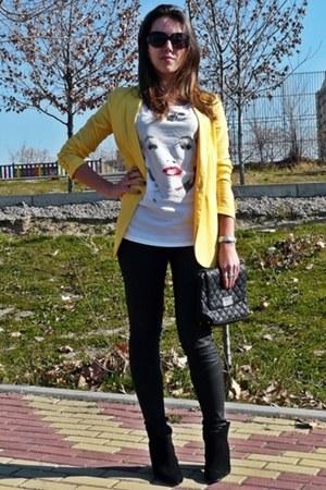 yellow Mango blazer - black Zara boots - black Zara jeans - black Mango bag