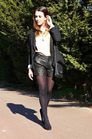 black leather Mango shorts - black Zara blazer - black Calzedonia tights