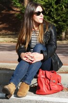 black leather Easy Wear jacket - brown ankle booties Mango boots