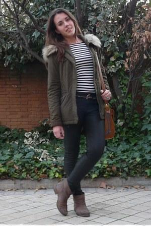 olive green Zara coat - light brown Mango boots - burnt orange Misako bag