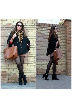black Easy Wear cape - black Zara boots - burnt orange Zara scarf