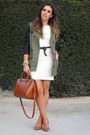 White-stretch-zara-dress-army-green-leather-sleeves-zara-coat