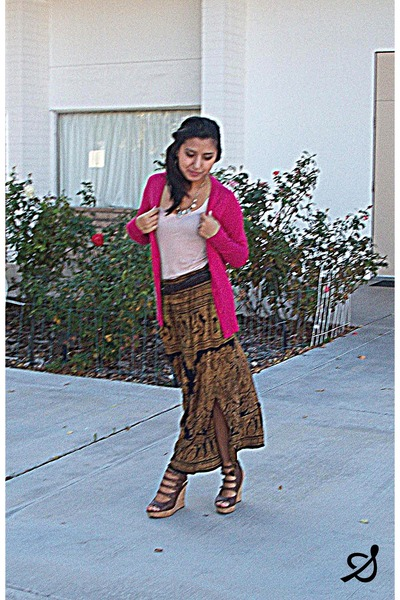 black maxi skirt - hot pink sweater - beige shirt - gold necklace - brown wedges