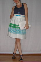 earrings - purse - top - divarese sandals - necklace - Dorothy Perkins skirt