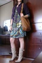 street market sweater - Street Market Printed dress - H&M purse - Aldo boots - A