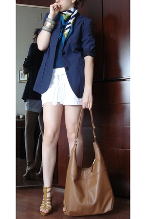 GoJane blond high gladiator - H&M Brown Bag - Extyn White Shorts - Terranova Blu