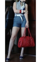 Blue Wedges - H&M shorts - belt - White and Blue Stripes top - Bag - Foulard and