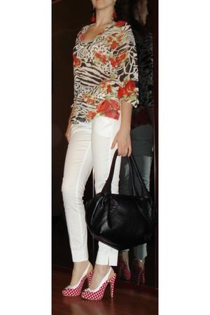 Animalier printed blouse - Extyn White Skinny Pants - Back Leather Belt - Black