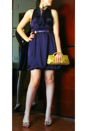 purple H&M dress - gold clutch - purple Necklaces used as Belt - Sandal