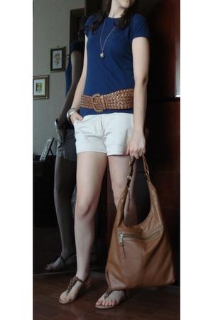 Terranova Blue T-Shirt - Beige Street market Shorts - Cognac Belt - Accessorize