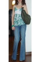 GoJane Black wedges - Terranova Flare Jeans - Street Market Green and White Top