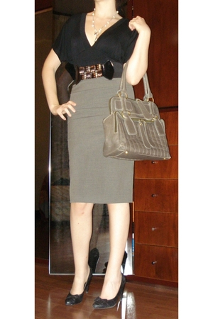 shoes - Zara Basic skirt - belt - blouse - purse - necklace