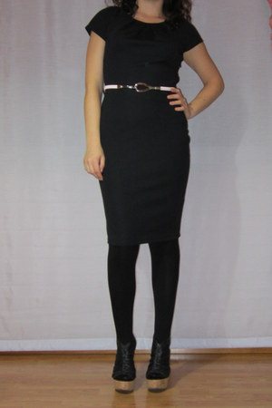 black cork Primadonna sandals - black dress - black tights