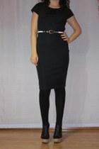 black cork Primadonna sandals - black dress - black tights