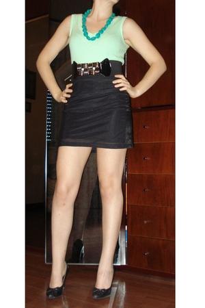 shoes - skirt - top - necklace - belt