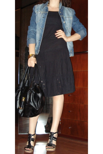 Black dress - Jeans jacket - Black GoJane Wedges - black bag - Gold Bangle