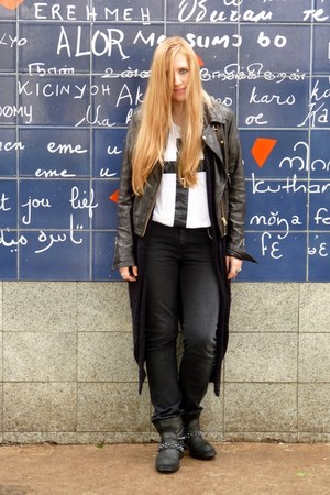 ASH boots - Zadig & Voltaire jeans - leather jacket asos jacket - cross t-shirt