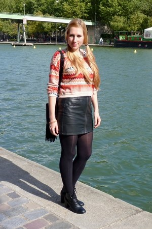 H&M sweater - H&M boots - H&M skirt