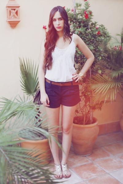Bershka shorts - pull&bear blouse - pull&bear sandals
