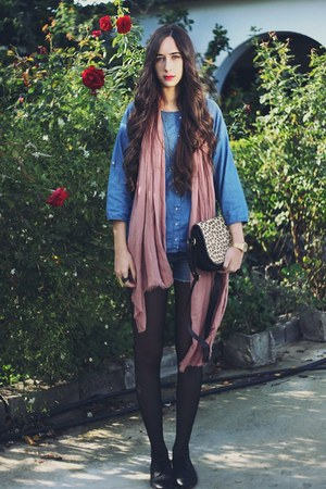 pull&bear bag - Stradivarius shoes - pull&bear scarf - pull&bear blouse