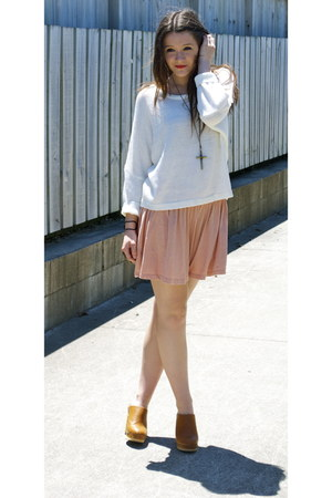 garage skirt - rubi clogs - Glassons jumper - cross Bling necklace