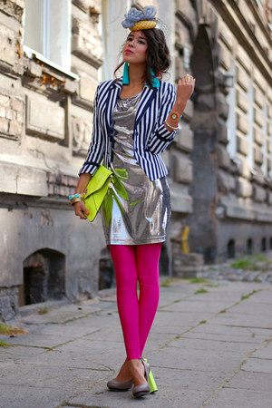 stripes H&M blazer - neon storets earrings - block neon united nude heels