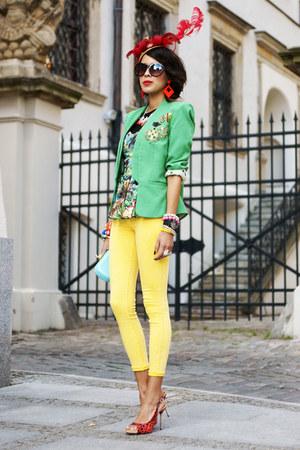 green Queens Wardrobe blazer - jungle tropical asos top