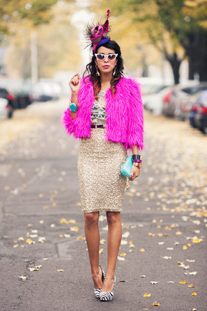 fur pink neon Choies coat - blue pastel Anna Dello Russo for H&M bag