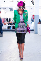 asos skirt - green Queens Wardrobe blazer - Beginnin Boutique bag