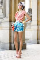 floral peplum beginning boutique skirt - red floral MeDusa via Bottica bag
