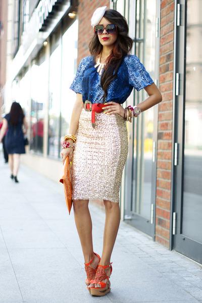 sequins gold beginning boutique skirt - red leather beginning boutique belt