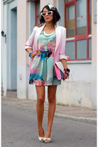 romwe blazer - Sheinside dress - white bow Stradivarius heels