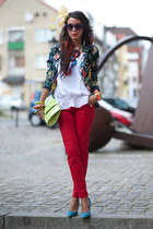 AX Paris blazer - red pull&bear pants - white H&M top