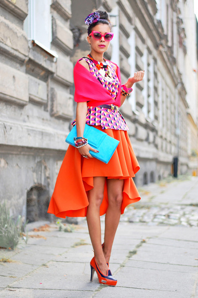 Hedonic skirt - pink neon fluo H&M scarf - Primark top