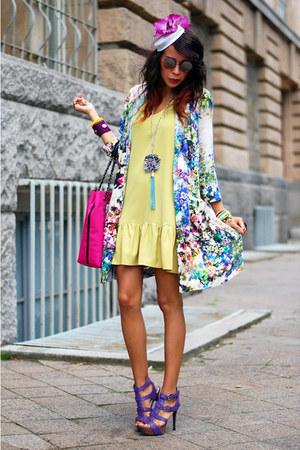 River Island coat - pink prints Love Moschino bag - miezko sandals
