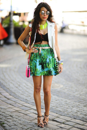 H&amp;M necklace - neon fluo pink Zara bag - Sheinside skirt
