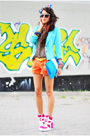 turquoise blue mint blue reserved blazer - carrot orange house shorts