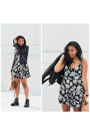 black cut out Shellys London boots - black floral print brandy melville dress
