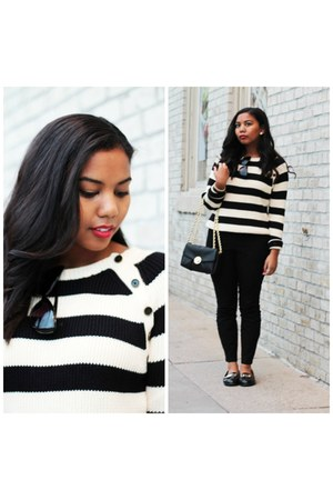 black striped Forever 21 sweater - black Henri Bendel bag