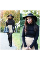tan Urban Outfitters skirt - black turtleneck H&M top