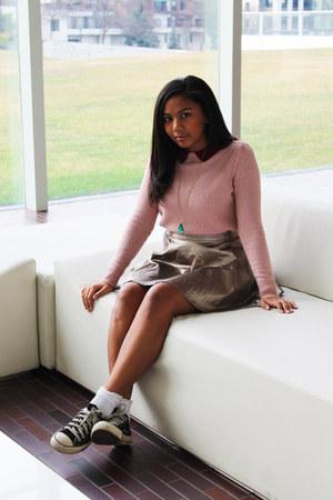 silver metallic Tobi skirt - pink collar Urban Outfitters sweater
