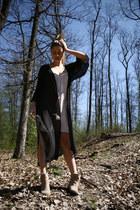 suede Zara boots - second hand dress - sheer kaftan H&M blazer