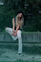 c&a hat - suede Zara boots - c&a top - lace bells Bershka pants