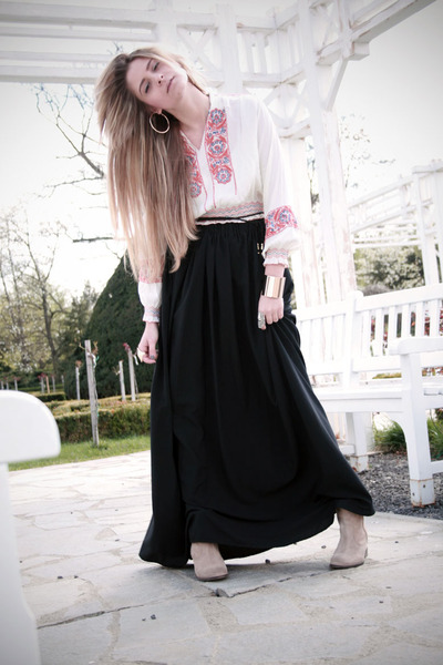 maxi Confused skirt - suede Zara boots - second hand blouse