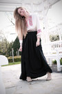 Suede-zara-boots-second-hand-blouse-maxi-confused-skirt