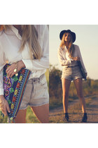 H&M boots - H&M hat - denim shorts Zara shorts - Mango blouse