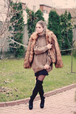 slip on Zara dress - over the knee Mango boots - faux fur hm jacket